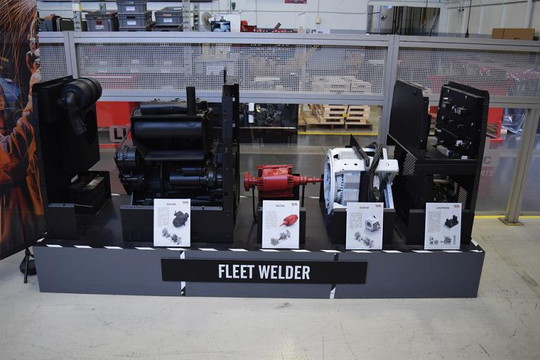 A segmented view of the FLEET welding machine on display at the Lincoln Canada shop.