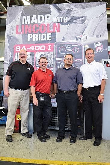 Lincoln Electric Canada's Marketing Manager Scott Stanley, President Michael Whitehead, Director of Operations Adel Mir, and VP of Sales Dale Malcolm.