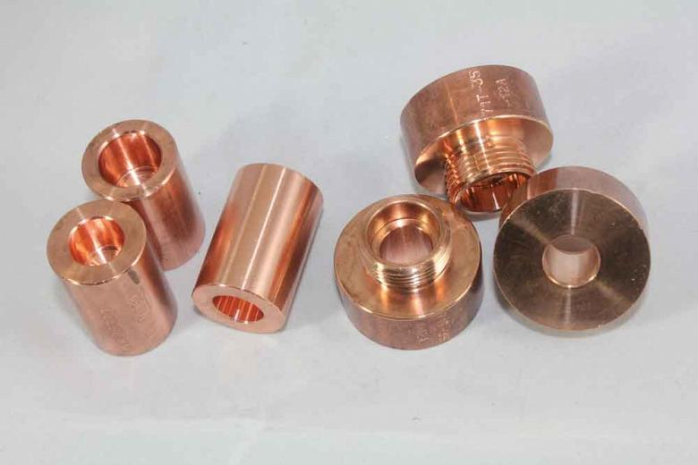 A variety of small copper electrodes are manufactured at RWP. Photo by James Gervais.