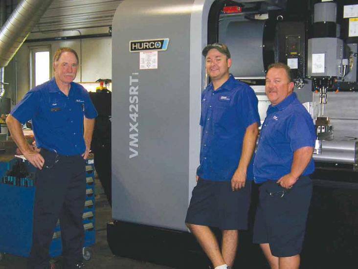 Machinists Marty Wysman, Paul Montgomery, and Clare Malott researched 5-axis machining centres prior to the company's Hurco purchase.